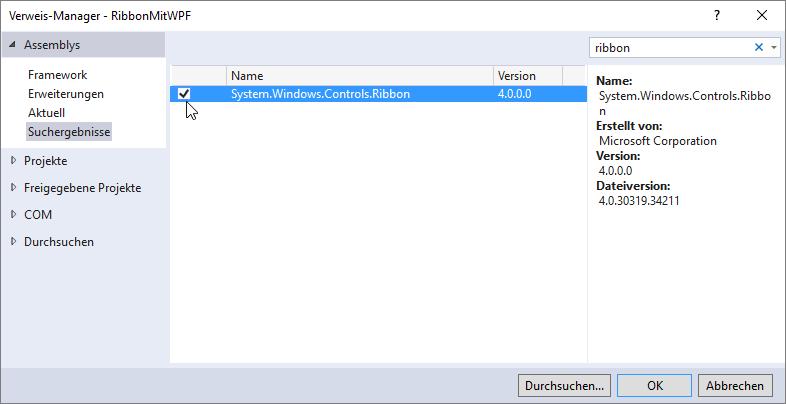 Hinzufügen einer Referenz auf die Bibliothek System.Windows.Controls.Ribbon