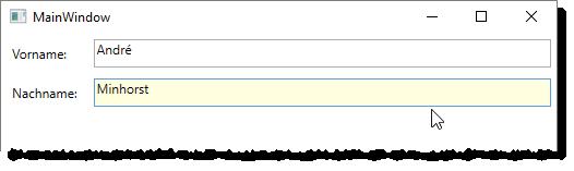 Fenster mit zwei Textfeldern, von denen das aktive jeweils einen gelben Hintergrund erhält