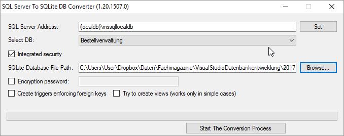 Tool zum Konvertieren von SQL Server-Datenbanken nach SQLite