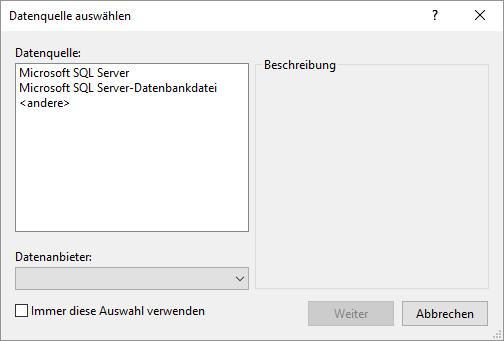 Der SQLite-Provider fehlt.