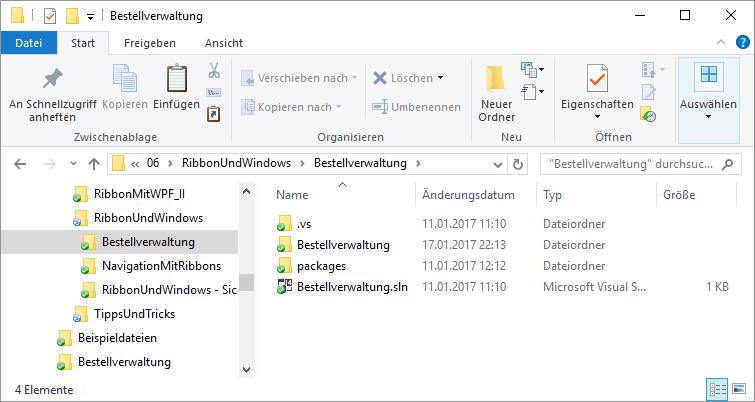 Projektordner mit .sln-Datei und Unterordnern