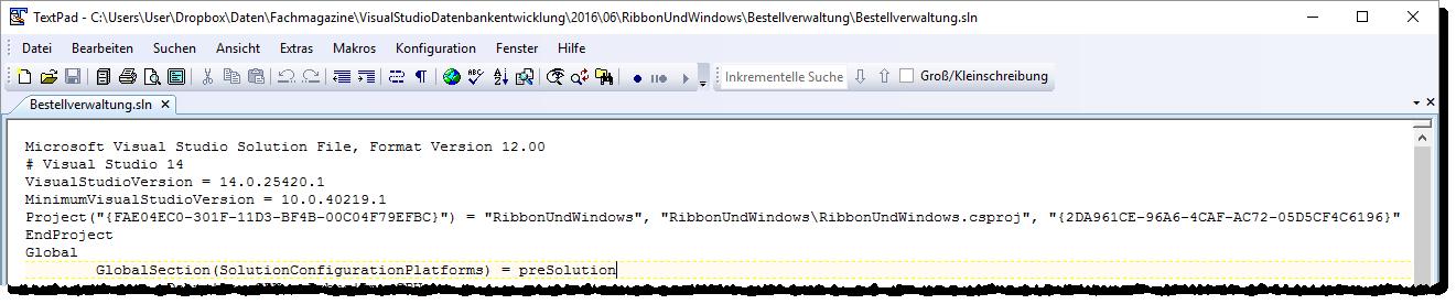Falscher Pfad in der .sln-Datei
