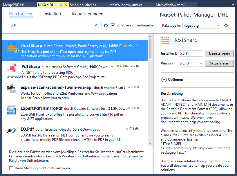 Installieren des NuGet-Pakets iTextSharp