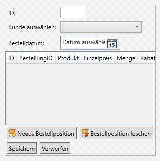 Entwurf der Bestelldetails samt DataGrid für die Bestellpositionen