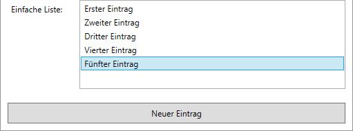Einfügen einiger Einträge zu einem ListBox-Element