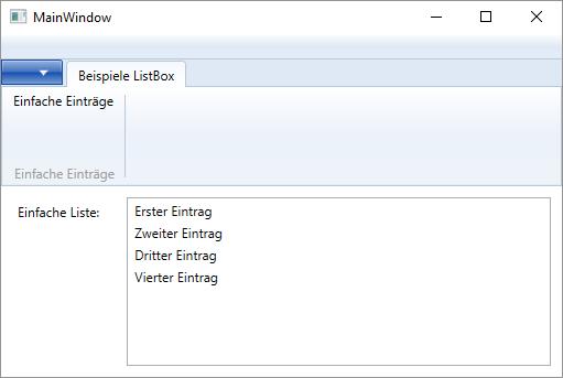 Feste Beispieleinträge in einem ListBox-Element