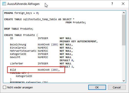 SQL-Anweisung zum Anlegen der Tabelle mit dem Feld Bild