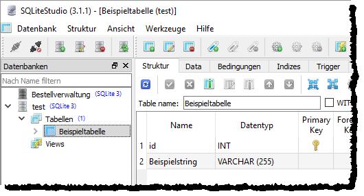 Tabelle mit Primärschlüssel im SQLiteStudio