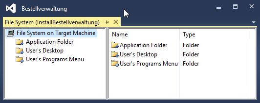 Der nach dem Erstellen des Setup-Projekts eingeblendete FileSystem-Editor.