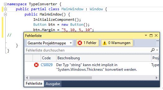 Unter C# kann der Eigenschaft Margin kein String übergeben werden.