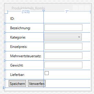 Entwurf des Fensters Produktdetails_Kombi.xaml