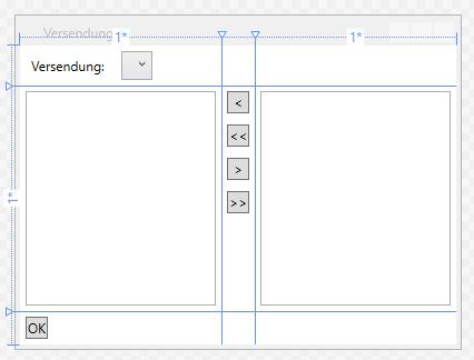 Entwurf des Fensters Versendungen.xaml