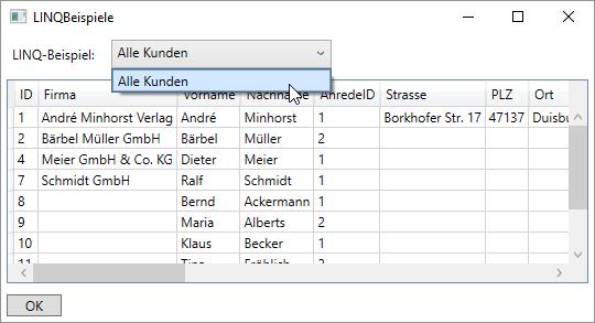 Ausgabe aller Kunden des Entity Data Models