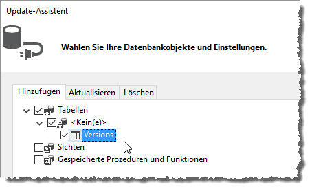 Einbinden der Tabelle Versions in das Entity Data Model
