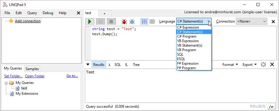 Ein erster Test mit LINQPad