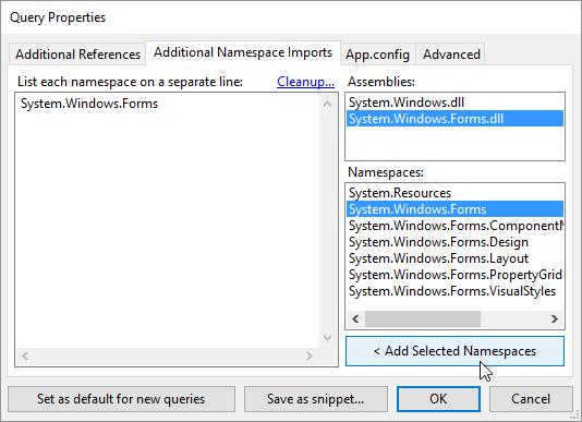 Hinzufügen von Namespaces