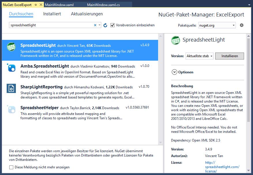 Hinzufügen von SpreadsheetLight über den Nuget-Paket-Manager