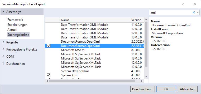 Verweis auf die Bibliothek DocumentFormat.OpenXML