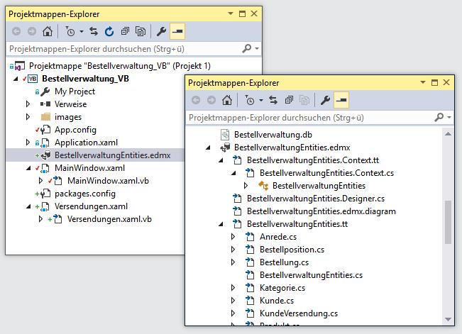 Das .edmx-Element zeigt unter VB keine Unterelemente an, unter C# schon.