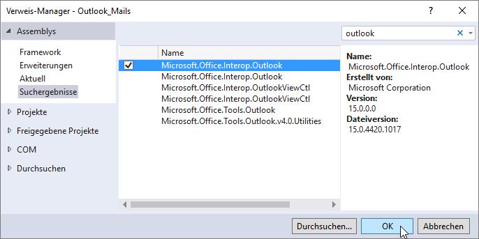 Erweitern der Verweise des Projekts um die Outlook-Bibliothek