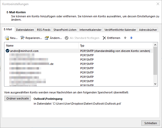 E-Mail-Konten unter Outlook