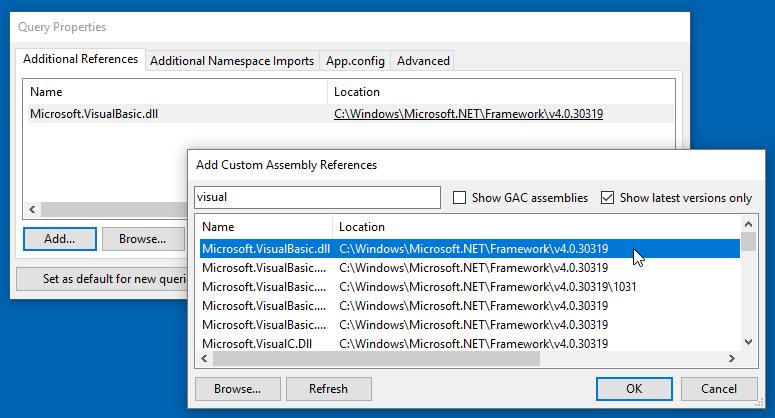 Hinzufügen der Referenz auf die Visual Basic-Bibliothek