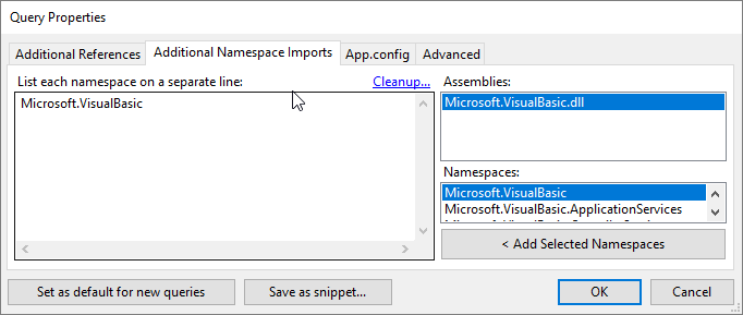 Hinzufügen des Namespaces Microsoft.VisualBasic