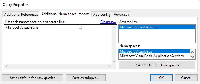 Hinzufügen des Namespaces Microsoft.VisualBasic