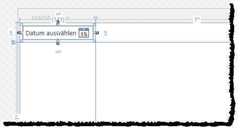 Das DatePicker-Element in der Entwurfsansicht