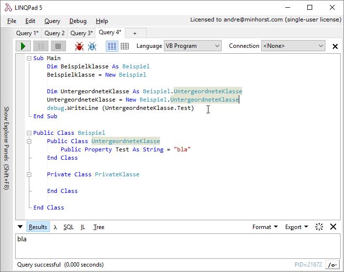 Experimentieren mit Klassen in LINQPad