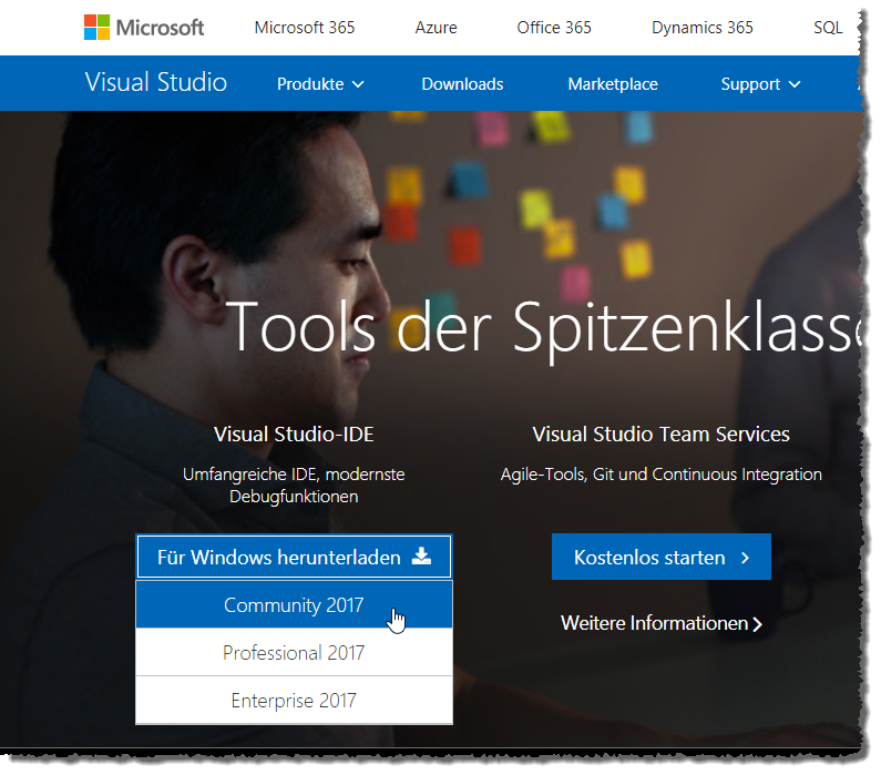 Download von Visual Studio 2017 Community