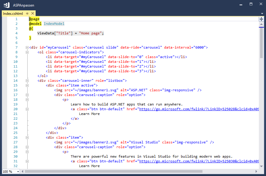Code der Seite Index.cshtml