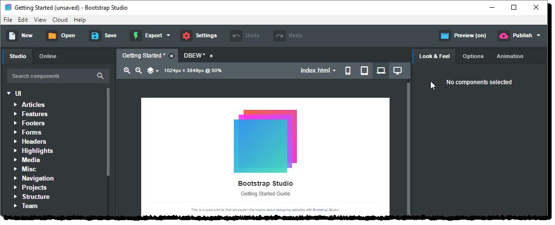 Startbildschirm von Bootstrap Studio