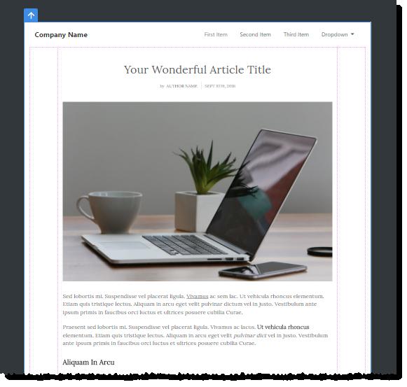 Die Webseite mit Navigation und einem Artikel-Inhaltselement