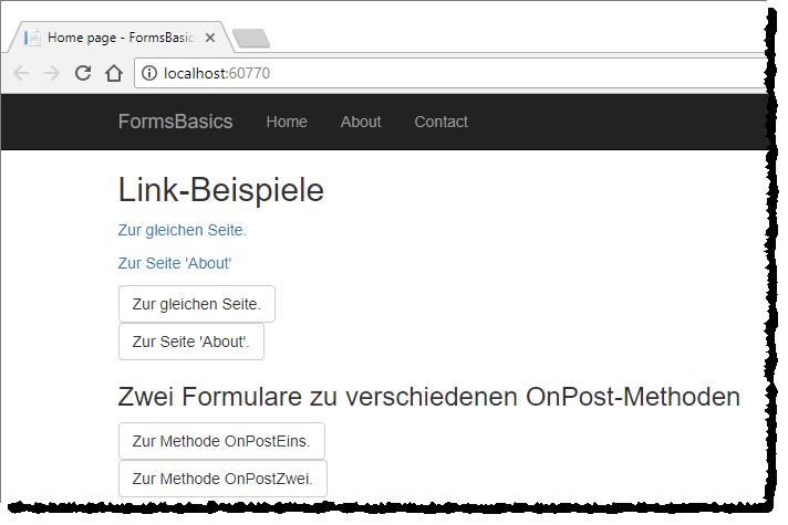 Beispiel-Links und -Formulare