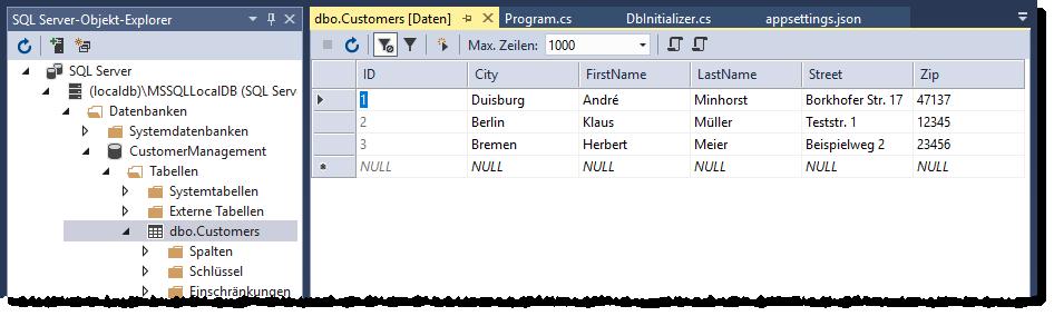 Die neue Datenbank mit den frischen angelegten Datensätzen