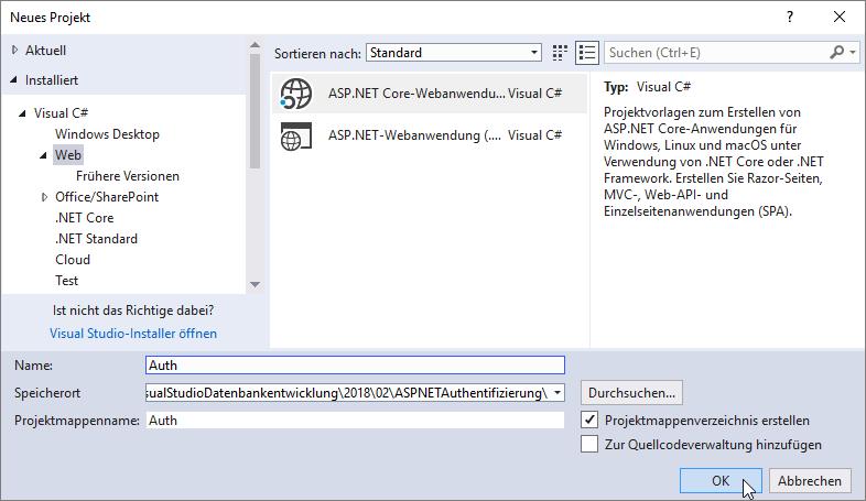 Anlegen eines neuen Projekts auf Basis der Vorlage ASP.NET Core Webanwendung