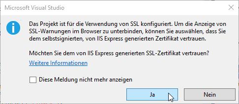 Hinweis auf die Verwendung von SSL