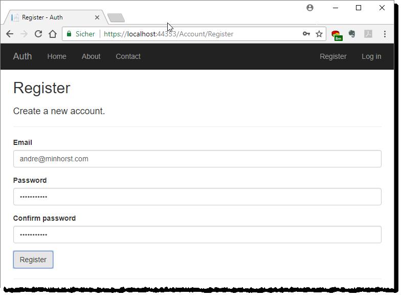 Registrieren eines neuen Benutzers