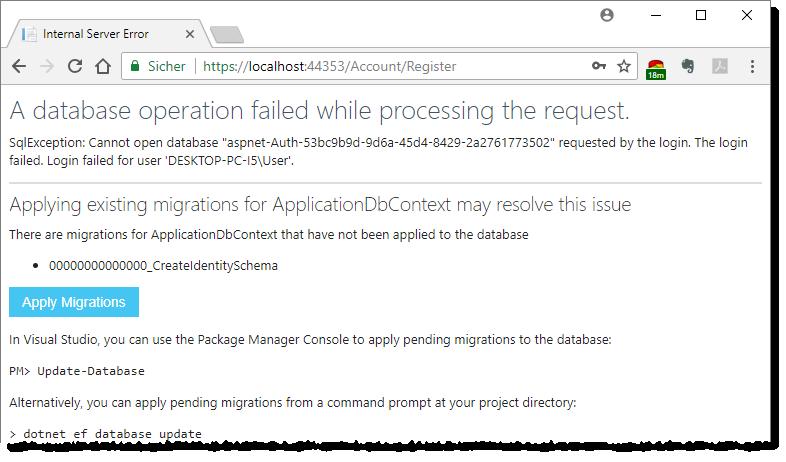 Fehler nach dem Absenden der Registrierung