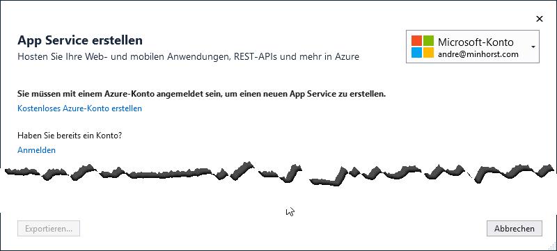 Azure-Konto erstellen oder an bestehendes Konto anmelden