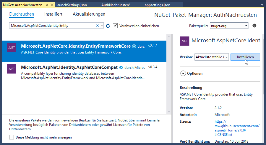 Microsoft.AspNetCore.Identity.EntityFrameworkCore nachrüsten