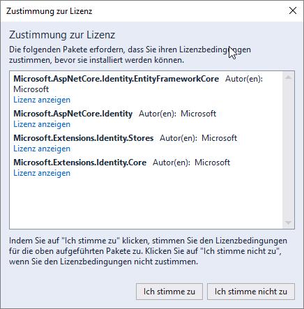 Microsoft.AspNetCore.Identity.EntityFrameworkCore kommt mit ein paar weiteren Bibliotheken