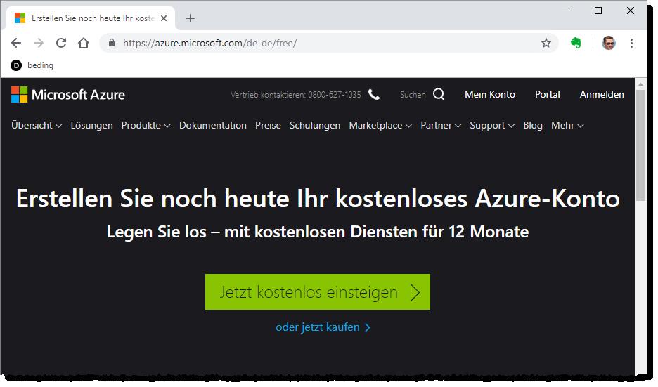Einstieg mit dem kostenlosen Azure-Konto
