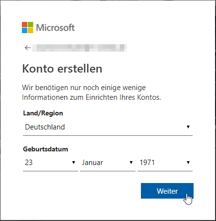 Weitere Schritte zum Erstellen des Microsoft-Kontos