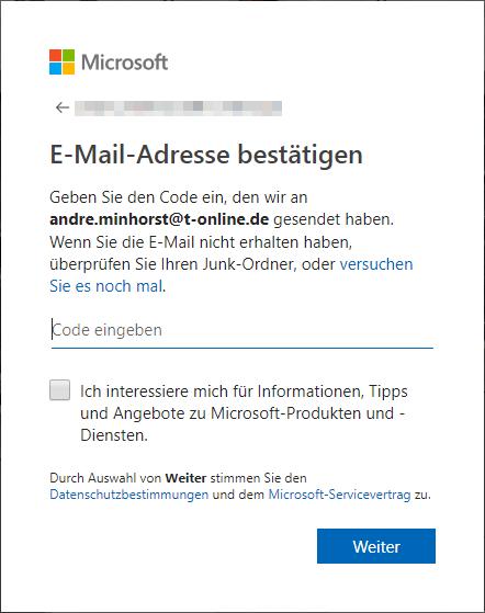 Abschluss der Anmeldung bei Microsoft