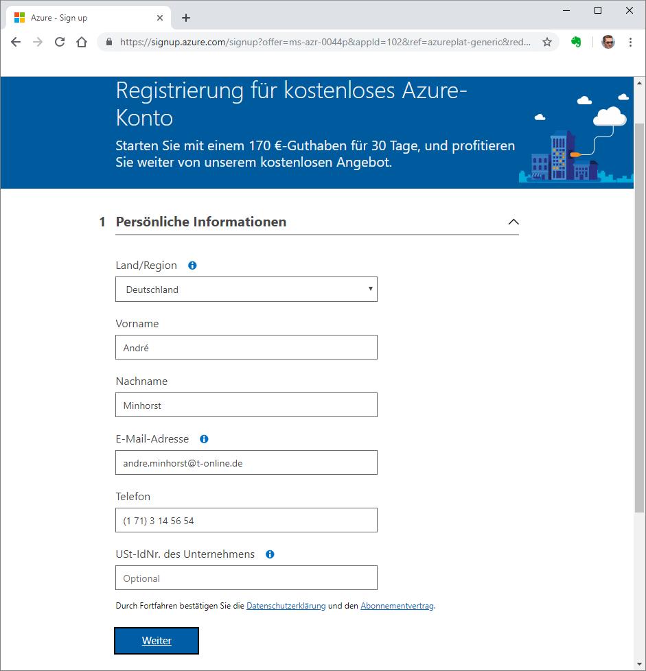 Registrierung für ein Azure-Konto