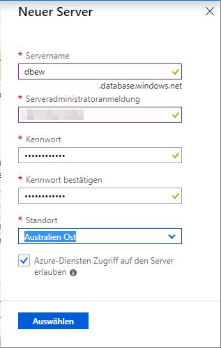 Anlegen eines neuen Servers