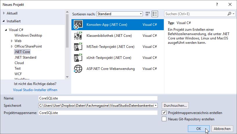 Anlegen eines Projekts auf Basis von .NET Core