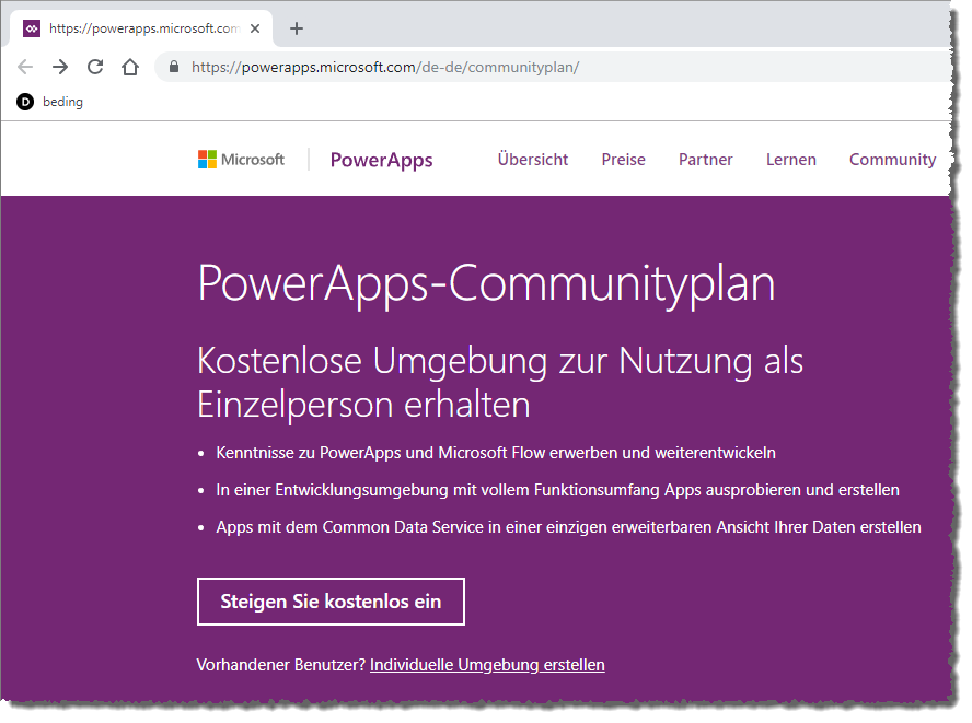 Einstieg in die Community-Version der PowerApps
